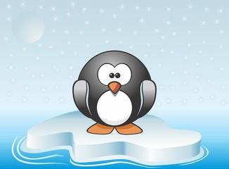 Cute penguin standing on iceberg