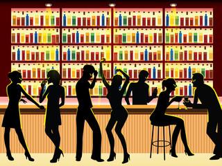 people in bar vector