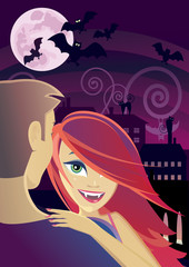 Sexy vampire embracing a man