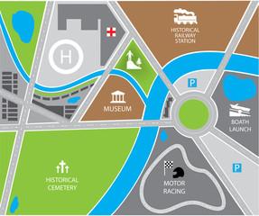 Foto op Plexiglas Op straat vector city map