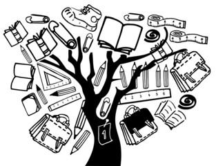 Tree with school elements