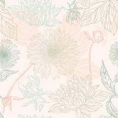Seamless pattern in retro style with flowers