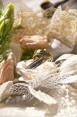 Closeup of golden wedding rings