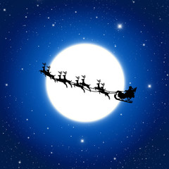 Santa Claus On Sledge With Deer And white Moon