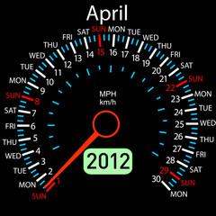 2012 year ñalendar speedometer car in vector. April.