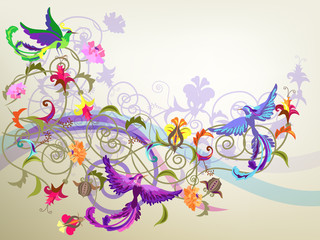 Colorful background with flowers and birds