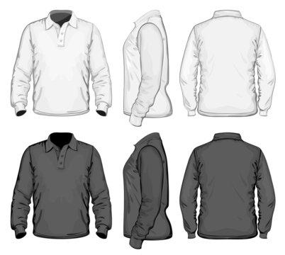 Vector. Men's polo-shirt design template. Long sleeve. No mesh.