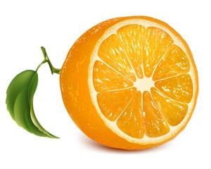 Vector fresh ripe orange with leaf.