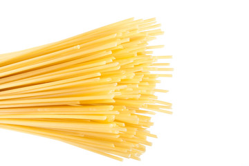 close-up raw pasta isolated