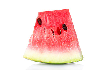 juicy slice of watermelon isolated on white