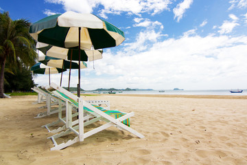 Canvas beds on beautiful beach at Sam Roi Yod, Thailand