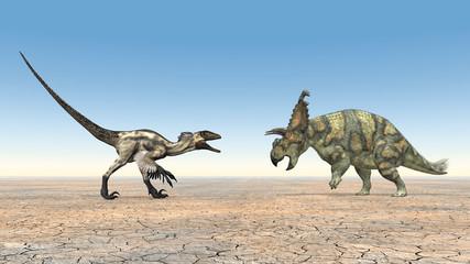 Deinonychus und Albertaceratops