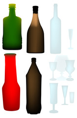 color botteles and glasses on white