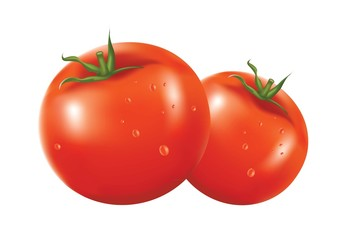2 Fresh Tomatoes in white background
