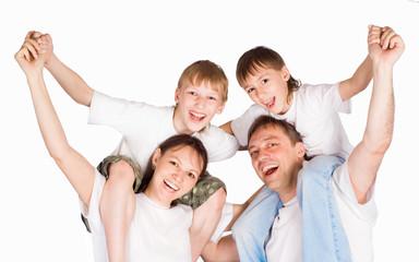 pretty family on white