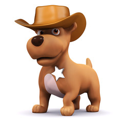 Foto op Plexiglas Wild West 3d Dog is the sheriff of the town