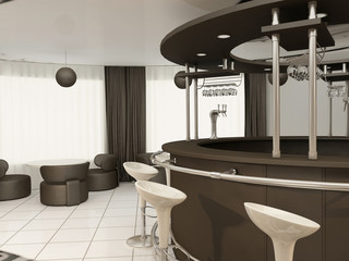 Round bar with chairs in Modern restaurant interior