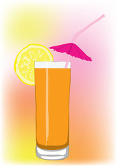 Orange cocktail with a tubule and an umbrella.