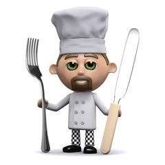 3d Chef holds a knife and fork