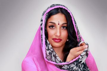 Indian female in sari or chunni, a face portrait