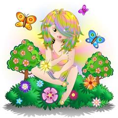 Fata Bambina Primavera-Fairy Baby Springtime-Vector