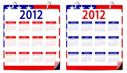 set of america 2012 calendar isolated on white background