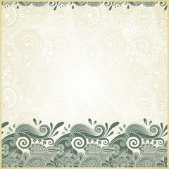 fish and wive ornamental stripes in floral background