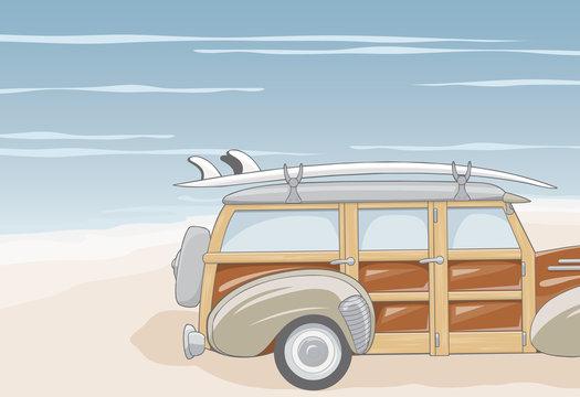 surfer's car on the beach
