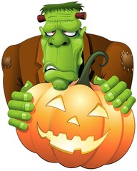 Frankenstein Halloween Cartoon Zucca-Pumpkin Monster -Vector
