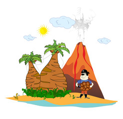 island with a volcano and a pirate vector