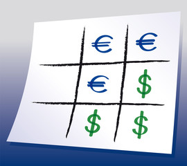 Euro Dollar Tic-tac-toe. Naughts and crosses with Euro and Dollar symbols, a paper-and-pencil game with blue background gradient. Xs and Os illustration. Vector.
