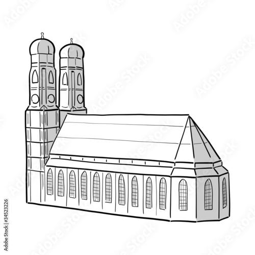 zeichnung frauenkirche m nchen ii stockfotos und lizenzfreie vektoren auf bild. Black Bedroom Furniture Sets. Home Design Ideas