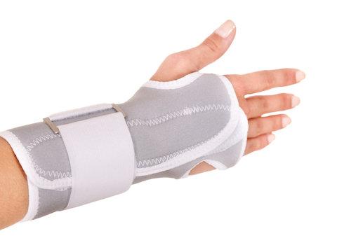 Trauma of wrist in brace.