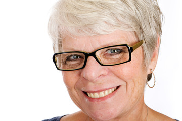 Happy, mature woman with glasses