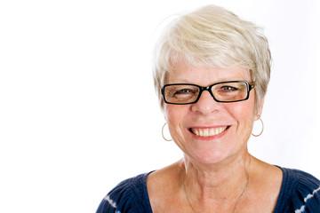 Happy, elderly woman with dark glasses