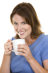 casual woman with coffee