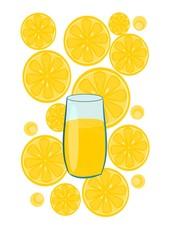 Glass with lemon juice - vector