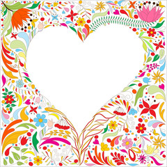 Valentine's card with bright doodle floral pattern