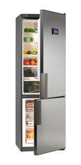 Two door INOX refrigerator with LCD  isolated on white