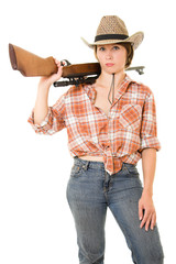 Cowboy woman with a gun on a white background.