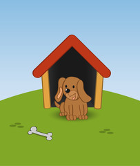 Poster Dogs Dog in a doghouse with a bone