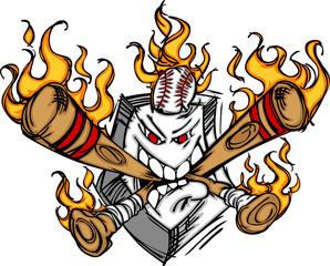 Softball Baseball Plate and Bats Flaming Cartoon Logo