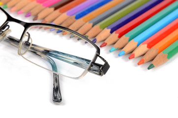 Color pencils and glasses