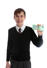 Student holding money