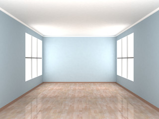 Empty blue Room with two windows