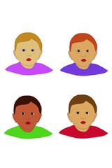 four faces illustration