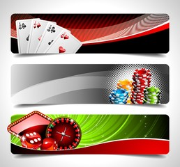 Vector banner set on a Casino theme.