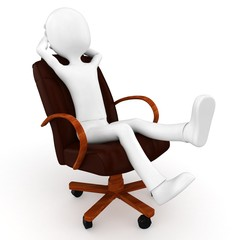 3d man relaxing in a puzzle chair