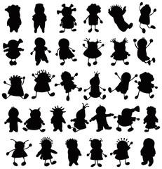 Silhouettes of fun kids.