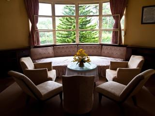 Living room of Bao Dai summer palace in Dalat Vietnam